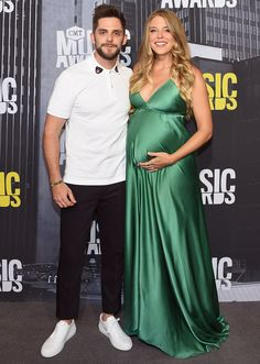 Glowing in Green! Thomas Rhett and Pregnant Wife Lauren Walk the Red Carpet at CMT Awards