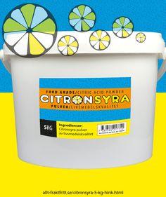 Citronsyra 5 kg hink - Citronsyra, livsmedelsgodkänd till drycker, godis, tvätt och avkalkning av livsmedelsytor, avkalkning av alla sorters maskiner, tvättmaskinrengöring etc.