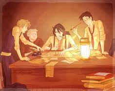Fan art of the making of the marauders map. freaking awesome!!