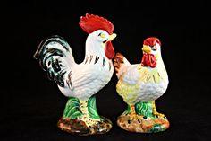 Porcelain Chicken Pair, Ceramic Chicken Figurines, Rooster and Hen Pair, Japanese Ceramic Chickens, Mid Century Ceramic Chickens
