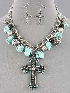 Silver Strike necklace & earrings set