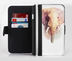 The Watercolor Animal Set [No Text] lnk-Fuzed Leather Folding Wallet Case For the Apple iPhone and Samsung Galaxy Devices