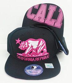 """California Republic """"Cali"""" print Flat Bill Snapback Hat Caps-Black/Black Bill, http://www.amazon.com/dp/B00N29UVZK/ref=cm_sw_r_pi_awdm_of5nub1AC9WRF"""