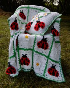 Ladybugs are a sure sign of springtime and warmth with their bright red color and fun black spots. This makes the Ladybug Afghan and Pillow Pattern, designed by Maggie Weldon, a perfect compliment to your living area or sun room for a bright splash of color. Ladybug afghan is true to that phenomenon that ladybugs tend to gather in groups, with a crochet design that covers the space in three-dimensional the