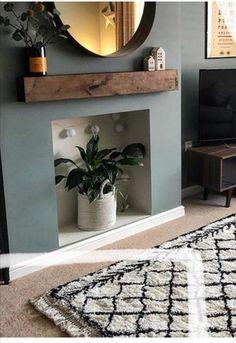 Fireplace Mantle Shelf, Floating Shelf Mantle, Floating Fireplace, Wooden Floating Shelves, Wooden Beam, Wooden Fireplace, Home Living Room, Living Room Decor, Acadian Style Homes