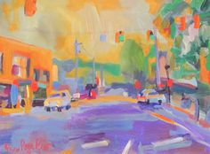 Blowing Rock Sunset, Main Street at Sunset Drive. 24 x 18 Acrylic on Canvas. For Sale on Etsy at StevenPagePrewittART
