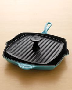 Le Crueset panini press and grill pan.