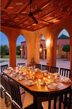 Al Fresco Dining at Villa El Boura, Marrakech Marrakech Morocco, Marrakesh, Moroccan Design, Moroccan Style, Outside Living, Glass Roof, Al Fresco Dining, Home Entertainment, Maine House