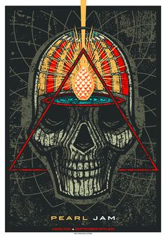 An interesting skull illustration found in this Pearl Jam poster