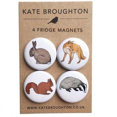 woodland animal fridge magnets set of four rabbit  fox