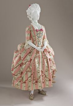Dress & Petticoat (Robe a la Polonaise)  --  Circa 1775  --  Spain…