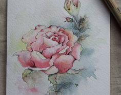 Pink Rose aquarel geschilderd Card - origineel of Print