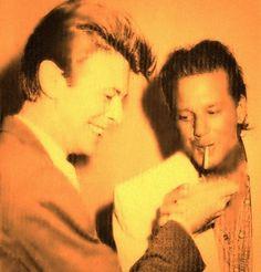 Mickey Rourke and David Bowie David Bowie Born, David Bowie Starman, David Bowie Tribute, The Ghost Inside, Ziggy Played Guitar, Aladdin Sane, Mickey Rourke, Major Tom, Ziggy Stardust