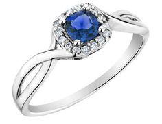 Sapphire Ring with Diamonds in 10K White Gold