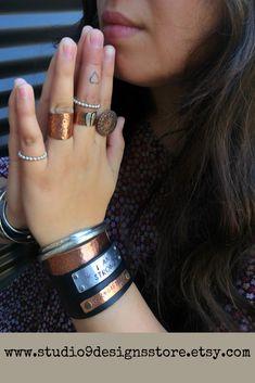 Studio 9 Designs by Copper Jewelry, Leather Jewelry, Unique Jewelry, Bohemian Gypsy, Bohemian Jewelry, Metal Bracelets, Cuff Bracelets, Gypsy Look, Jewelry Accessories