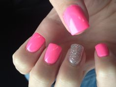 Not a fan of that silver glitter nail, but I looooove that barbie pink