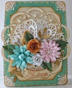 Isn't this a beautiful card?    Layered Floral Card