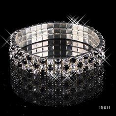 Black 3 Row Stretch Bangle Bracelet Bridal Party Jewelry Wedding Accessories !