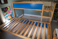 Hacking the KURA into a bunk bed with storage - IKEA Hackers Kura Bed, Cama Ikea Kura, Ikea Bunk Bed, Bunk Beds With Storage, Bunk Beds With Stairs, Cool Bunk Beds, Bed Storage, Storage Spaces, Adult Bunk Beds
