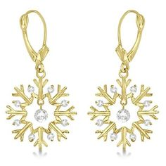 Allurez Snowflake Shaped Dangle Drop Diamond Earrings 14K Yellow Gold... ($740) ❤ liked on Polyvore featuring jewelry, earrings, 14k diamond earrings, 14k gold earrings, diamond snowflake earrings, diamond dangle earrings and gold earrings