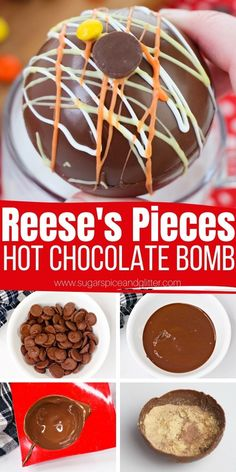 How to Make Reese's Pieces Hot Chocolate Bombs Peanut Butter Hot Chocolate Recipe, Hot Chocolate Gifts, Chocolate Melting Wafers, Christmas Hot Chocolate, Chocolate Spoons, Homemade Hot Chocolate, Hot Chocolate Bars, Hot Chocolate Mix, Hot Chocolate Recipes