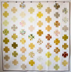 Yellow crosses quilt: front - mūsu by catherine-marie longtin. Circle Quilts, Quilt Blocks, Scrappy Quilts, Baby Quilts, Quilting Projects, Quilting Designs, Hand Quilting, Modern Quilting, Postage Stamp Quilt