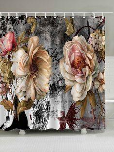 Vintage Flower Mouldproof Shower Curtain -