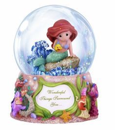 "The Wonderful Things Surround You Musical Water Globe from Precious Moments is part of the Disney Showcase collection. The globe features The Little Mermaid Ariel and her friend Flounder sitting in an underwater scene. The song ""Under The Sea"" plays. Ariel Disney, Disney Princess, Disney Precious Moments, Precious Moments Figurines, Disney Snowglobes, Musical Snow Globes, Water Globes, Disney Figurines, Ariel The Little Mermaid"