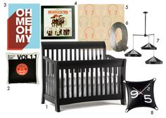 Rock and Roll Nursery- black, blue and orange...featuring the Metro Lifestyle Crib from Bonavita available at Baby Go Round!