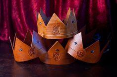 Handmade Leather Crown w/Lion Emblem. $28.00, via Etsy.