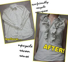 How to Make a Ruffled Top from a Mens Shirt | ThreadBanger - D.I.Y Fashion  Style