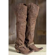 Women's Liberty Black Over-the-Knee Leather Cowboy Boots, TOCATO CHOCOLATE