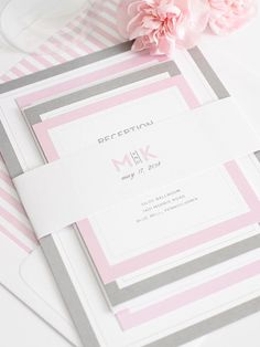 Gray and pink wedding invitations - so pretty and color customizable!