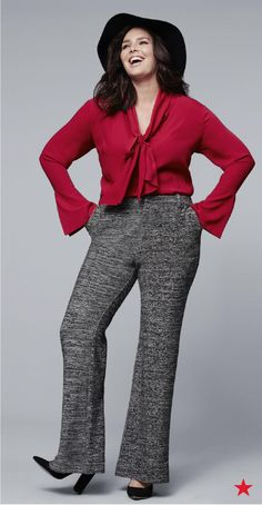 We're so psyched that the RACHEL Rachel Roy collection is now available in plus sizes. This lipstick red, tie-front blouse looks so cute with a pair of flare pants, pumps and a floppy hat. Shop this and more plus looks from Rachel Roy at Macy's.