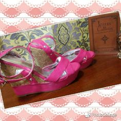 "Bamboo - Pink & Cork Wedges - Size 8 1/2 Brand - Bamboo Pink & Cork Size - 8.5 Used 5"" Heel   ?There is a slit going through the back of the left one's strap. (As shown in last photo) Bamboo   Shoes Wedges"