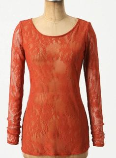 nwt Anthropologie Lacy Longsleeved Top Ella Moss Tee Red  Lace Blouse S, 4, 6