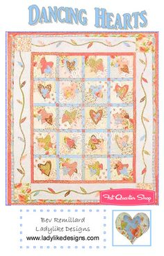 Dancing Hearts Downloadable PDF Quilt Pattern Bev Remillard for Ladylike Quilting Designs