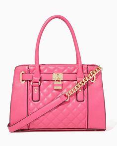 charming charlie   Quilted Lockbox Satchel #handbags #satchel #charmingcharlie