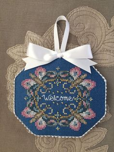 Just Nan Finished Cross Stitch Ornament Butterfly Welcome   eBay