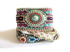 Rhinestone studded friendship bracelet cuff in turquoise and jewel tones - hippie bracelet - statement jewelry - boho chic gypsy style