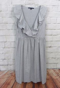 Womens CHADWICKS Gray White Striped Seersucker Ruffled Empire Waist Dress SZ 10 #Chadwicks #EmpireWaist #CasualWeartoWork