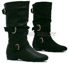 pictures of mid calf riding boots flat | -biker-boots-ladies-girls-flat-riding-mid-calf-winter-slouch-shoes ...