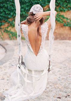 stunning backless wedding dress!  | Photos by Feather and Stone | 100 Layer Cake