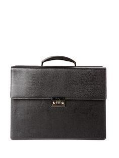 SALVATORE FERRAGAMO  Leather Double-Gusset Briefcase