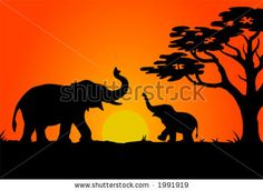 stock vector : Safari sunset