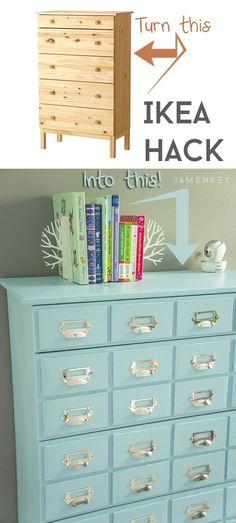 IKEA Hack: Tarva Dresser turned into a library card catalog.