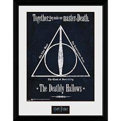 "Cornice nera con stampa ""Deathly Hallows"" di #HarryPotter."