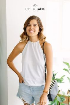 QUICK DIY: TURN A TEE INTO HALTER TANK | a pair & a spare | Bloglovin'