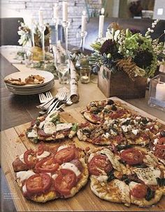 """For easy yet impressive entertaining, host an elegant pizza party. // With etuHome Pizza Boards, an """"adult"""" pizza party allows you to have all the pizza (and don't forget the wine) out on display for all your guests. Available now on etuhome.com!"""