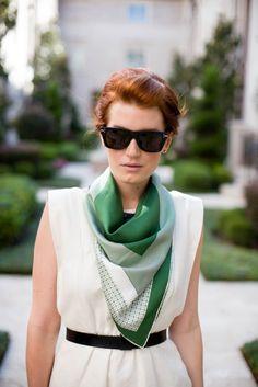 homemayde:  Scarf, hair, belt, sunglasses, everythang.